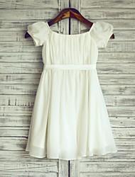 cheap -Sheath / Column Knee Length Flower Girl Dress - Chiffon / Satin Short Sleeve Bateau Neck with Sash / Ribbon / First Communion