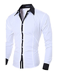 cheap -Men's Solid Colored Slim Shirt Business Casual Daily Work Weekend White / Black / Pink / Blue / Gray / Spring / Fall / Long Sleeve