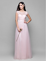 cheap -A-Line Scoop Neck Floor Length Lace Over Tulle Bridesmaid Dress with Lace
