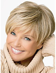 cheap -Synthetic Wig Straight Straight Pixie Cut With Bangs Wig Blonde Short Light Brown Synthetic Hair Women's Side Part Blonde StrongBeauty