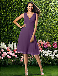 cheap -A-Line V Neck Knee Length Chiffon Bridesmaid Dress with Draping / Ruched