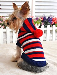 cheap -Cat Dog Sweater Hoodie Dog Clothes Stripes Yellow Red Woolen Costume For Winter Cosplay Wedding