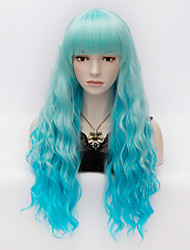 cheap -Synthetic Wig Kinky Curly Kinky Curly With Bangs Wig Very Long Blue Synthetic Hair Women's Blue