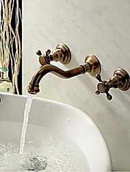 cheap -Bathroom Sink Faucet - Widespread Antique Copper Wall Mounted Three Holes / Two Handles Three HolesBath Taps
