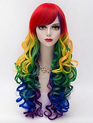 cheap -harajuku fashion party long kinky curly side bang hair mixed colors gradient synthetic lolita sexy women wig