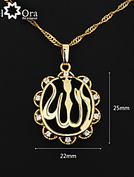 cheap -Fashion Allah Necklaces & Pendants For Women 18K Gold Plated Cubic Zirconia Pendant Necklace With Chain