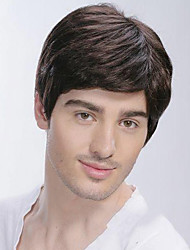cheap -Synthetic Wig Straight Straight With Bangs Wig Short Black Synthetic Hair Men's Side Part Brown