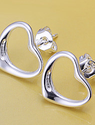 cheap -Women's Stud Earrings Heart Love Ladies Silver Plated Earrings Jewelry Silver For Wedding Masquerade Engagement Party Prom Promise