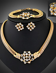 cheap -Jewelry Set Ladies Luxury Vintage Party Link / Chain Dubai Cubic Zirconia Imitation Diamond Earrings Jewelry Gold For / Necklace