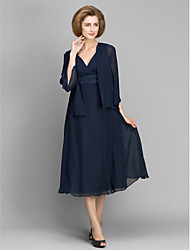 cheap -A-Line V Neck Tea Length Chiffon 3/4 Length Sleeve Convertible Dress Mother of the Bride Dress with Lace 2020