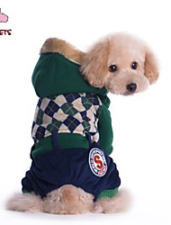 cheap -Cat Dog Coat Hoodie Pants Plaid / Check Letter & Number Cosplay Wedding Outdoor Winter Dog Clothes Puppy Clothes Dog Outfits Red Green Costume for Girl and Boy Dog Polar Fleece Cotton S M L XL XXL