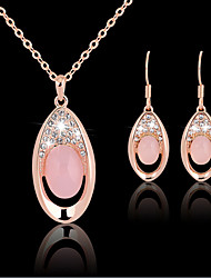 cheap -Crystal Jewelry Set Pendant Necklace Ladies Party Work Fashion Cubic Zirconia Rose Gold Plated Earrings Jewelry Rose Gold For Party Special Occasion Anniversary Birthday Gift