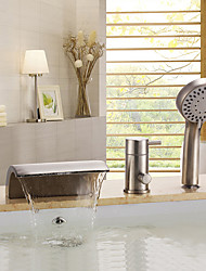 cheap -Contemporary Nickel Brushed Tub And Shower Ceramic Valve Bath Shower Mixer Taps / Brass / Single Handle Three Holes-Bathtub Faucet