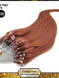 cheap -Febay Micro Ring Hair Extensions Human Hair Extensions Straight Classic Human Hair 1 Bundle Dark Auburn