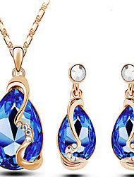 cheap -Crystal Jewelry Set Pendant Necklace Party Work Fashion Austria Crystal Earrings Jewelry Gold / Royal Blue For Party Special Occasion Anniversary Birthday Engagement Gift