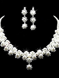 cheap -Lucky Doll Women's All Matching Luxury Plated Pearl Necklace & Earrings Suit