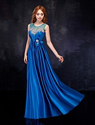 cheap -Sheath / Column Formal Evening Dress Scoop Neck Floor Length Satin Tulle with Sash / Ribbon Crystals 2021