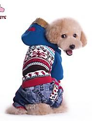 cheap -Cat Dog Coat Hoodie Pants Floral Botanical Jeans Cosplay Wedding Outdoor Winter Dog Clothes Blue Pink Costume Polar Fleece Cotton S M L XL XXL