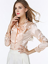 cheap -Women's Daily Plus Size Shirt - Solid Colored Bow V Neck Beige / Fall
