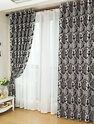 cheap -Custom Made Blackout Blackout Curtains Drapes Two Panels  Black / Jacquard / Bedroom