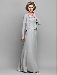 cheap -Sheath / Column Mother of the Bride Dress Convertible Dress Straps Floor Length Chiffon Long Sleeve with Beading 2021