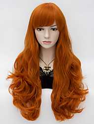 cheap -Synthetic Wig Deep Wave Deep Wave With Bangs Wig Long Brown Synthetic Hair Women's Red