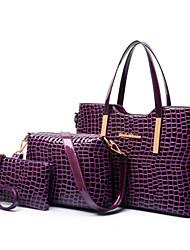 cheap -Women's PU Leather / Patent Leather Tote / Shoulder Messenger Bag / Bag Set Bag Sets Plaid 3 Pcs Purse Set Black / Purple / Red
