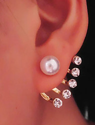 cheap -Women's Pearl Drop Earrings Jacket Earrings Magic Back Earring Ladies Classic Pearl Imitation Pearl Rhinestone Earrings Jewelry For Daily Casual / Imitation Diamond