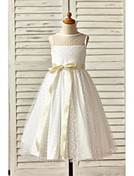 cheap -A-Line Ankle Length Flower Girl Dress - Tulle Sleeveless Jewel Neck with Bow(s) / Sash / Ribbon / First Communion