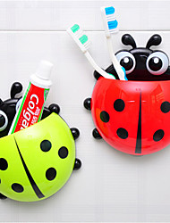 cheap -Ladybug Toothbrush Holder Mount With Suction Wall Rack Bathroom