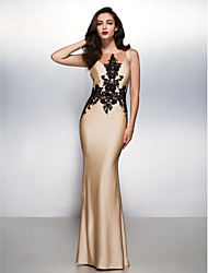 cheap -Mermaid / Trumpet Illusion Neck Sweep / Brush Train Jersey Beautiful Back / Elegant Engagement / Formal Evening Dress with Appliques 2020
