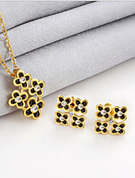 cheap -Lucky Doll Women's All Matching Luxury Gem 18K Gold Plated Necklace & Earrings Jewelry Sets