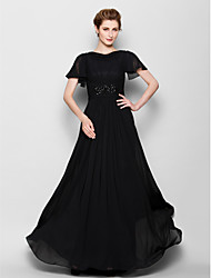 cheap -A-Line Mother of the Bride Dress See Through Bateau Neck Floor Length Chiffon Short Sleeve with Beading 2021