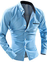 cheap -Men's Daily Work Business Slim Shirt - Solid Colored Button Down Collar White / Long Sleeve