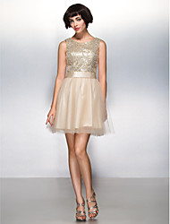cheap -A-Line / Fit & Flare Scoop Neck Short / Mini Tulle / Sequined Sparkle & Shine Cocktail Party / Prom Dress with Sequin by TS Couture®