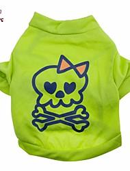 cheap -Cat / Dog Costume / Shirt / T-Shirt / Outfits Green Dog Clothes Summer Skulls Wedding / Cosplay / Halloween