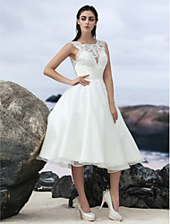 cheap -A-Line Wedding Dresses Bateau Neck Knee Length Organza Regular Straps Formal Casual Little White Dress Illusion Detail Backless with Lace Insert 2020