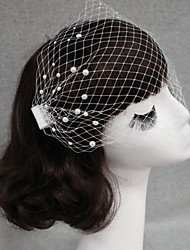 cheap -One-tier Cut Edge Wedding Veil Blusher Veils with Pearl Tulle / Birdcage
