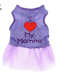 cheap -Cat Dog Dress Dog Clothes Black Purple Costume Cotton Letter & Number Casual / Daily Fashion XS S M L