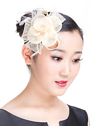 cheap -Material Flax Feather Fascinators Headpiece with Fur Wedding Party Special Occasion Casual Outdoor Headpiece