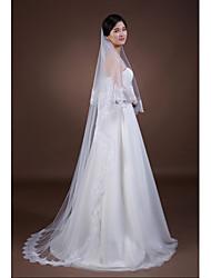 cheap -Two-tier Lace Applique Edge Wedding Veil Fingertip Veils / Chapel Veils with Appliques Tulle / Classic