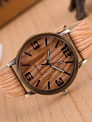 cheap -Women's Wrist Watch Quartz Quilted PU Leather White / Brown / Grey Casual Watch Analog Ladies Charm Casual Fashion Wood - 3# 4# 5# One Year Battery Life / Jinli 377