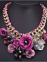 cheap -Women's Pendant Necklace Cuban Link Chunky Flower Statement Ladies Festival / Holiday Color Synthetic Gemstones Resin Plastic Blue Pink Necklace Jewelry For Party Special Occasion Birthday Gift