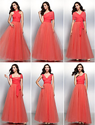 cheap -A-Line V Neck Floor Length Chiffon / Tulle Bridesmaid Dress with Pleats by LAN TING BRIDE®