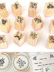 Недорогие -12шт старинные цветок кружева деревянные резиновые штампы