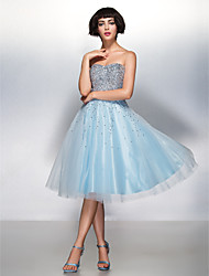 cheap -A-Line Fit & Flare Sweetheart Knee Length Organza Tulle Cocktail Party Prom Dress with Sequin by TS Couture®