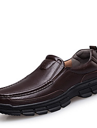cheap -Men's Leather Shoes Leather Spring / Fall Loafers & Slip-Ons Black / Brown / Dress Loafers / EU40