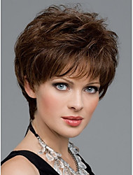 cheap -Women Nice Short Natural Wave Wigs Stylish Lady Brown Synthetic Hair Wigs
