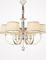 cheap -Candle-style Chandelier Uplight Painted Finishes Metal Fabric Crystal 110-120V / 220-240V Bulb Not Included / E26 / E27