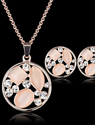cheap -Crystal Jewelry Set Pendant Necklace Ladies Party Fashion Cubic Zirconia Opal Rose Gold Plated Earrings Jewelry Pink For Party Special Occasion Anniversary Birthday Gift